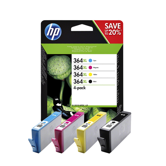 HP inktcartridges 364XL zwart + 3 kleuren