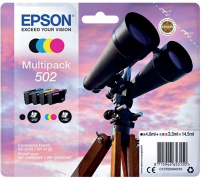Inktcartridge Epson 502 T02V6 zwart + 3 kleuren