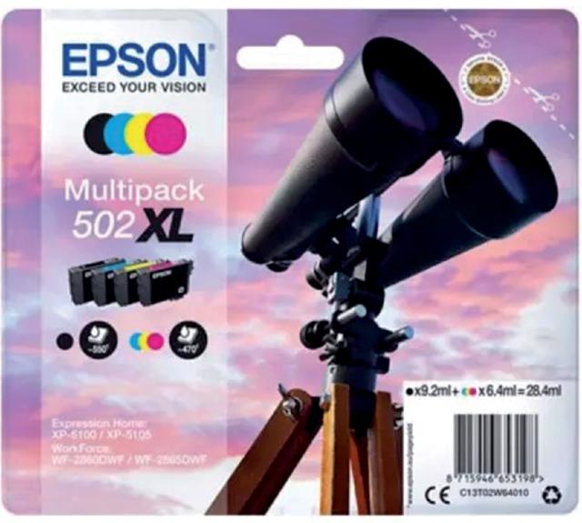 Epson inktcartridges 502XL zwart + 3 kleuren