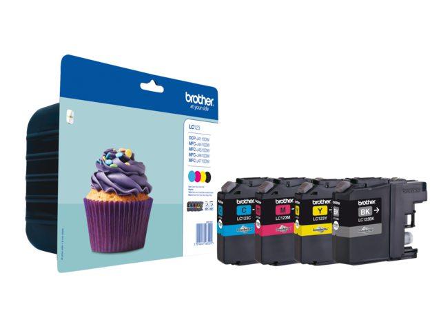 Brother LC-123 set zwart + 3 kleuren inktcartridges