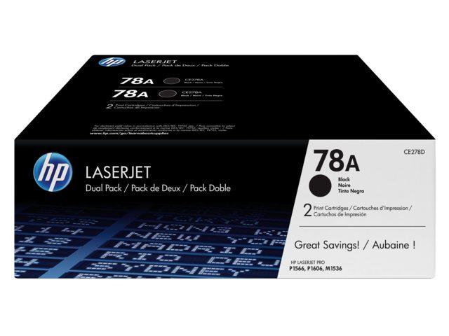 HP tonercartridge 78A zwart Ce278A dubbelpak 2.1k