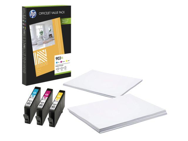 HP inktcartridges 903XL 3 kleuren + 75 vel A4