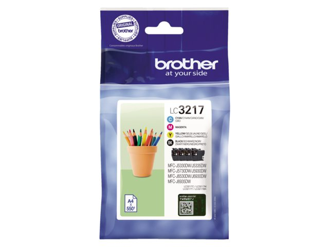 Brother LC-3217 set zwart + 3 kleuren inktcartridge