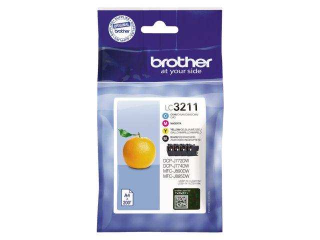 Brother LC-3211 set zwart + 3 kleuren inktcartridge