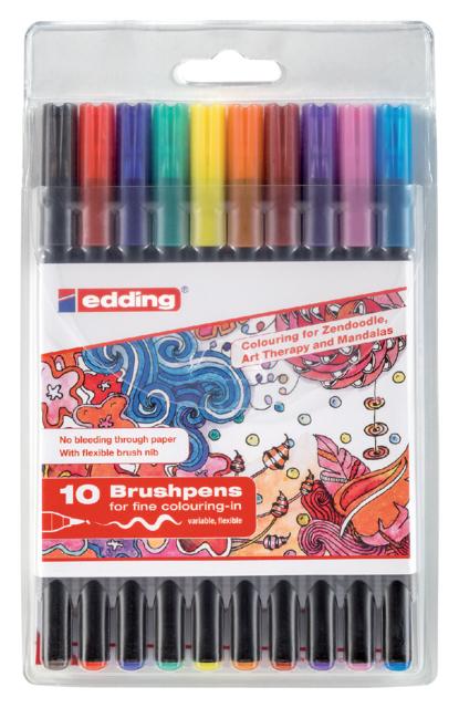 edding brushpen set van 10 kleuren assorti 1340
