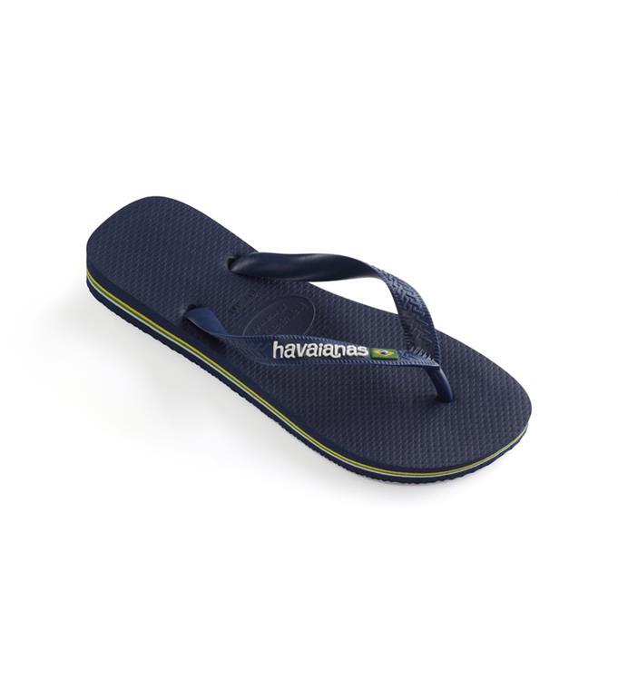Havaianas Brasil Logo Navy Blue Slippers