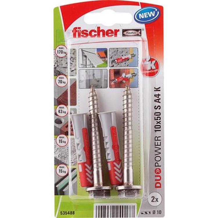 fischer DUOPOWER 10x50 S K (2 ST) met schroef RVS A4