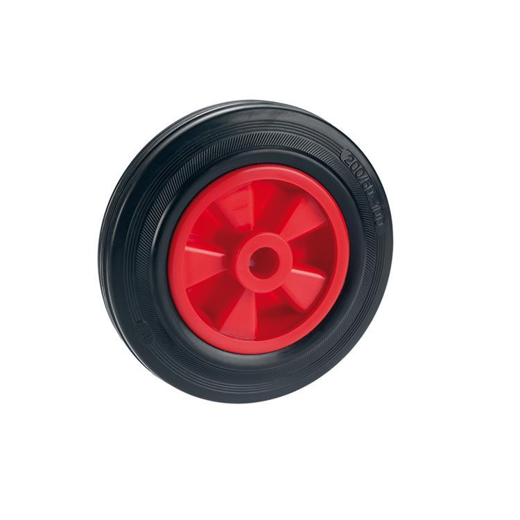 standaard massief wiel met PVC velg glijlager rubber zwart / rood 160 x 40 x 20mm 120kg