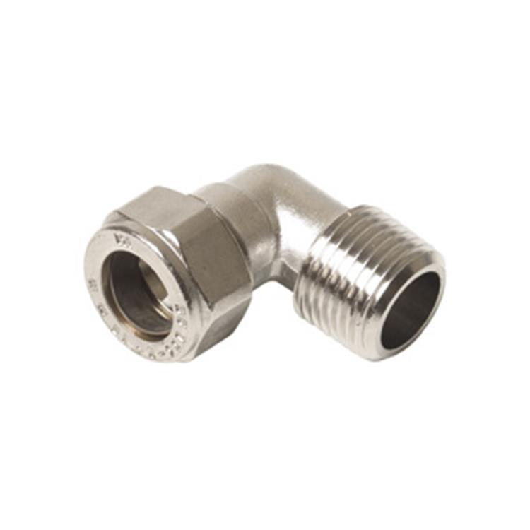 """Plieger knel radiatorkoppeling haaks 1/2""""x15mm nikkel"""
