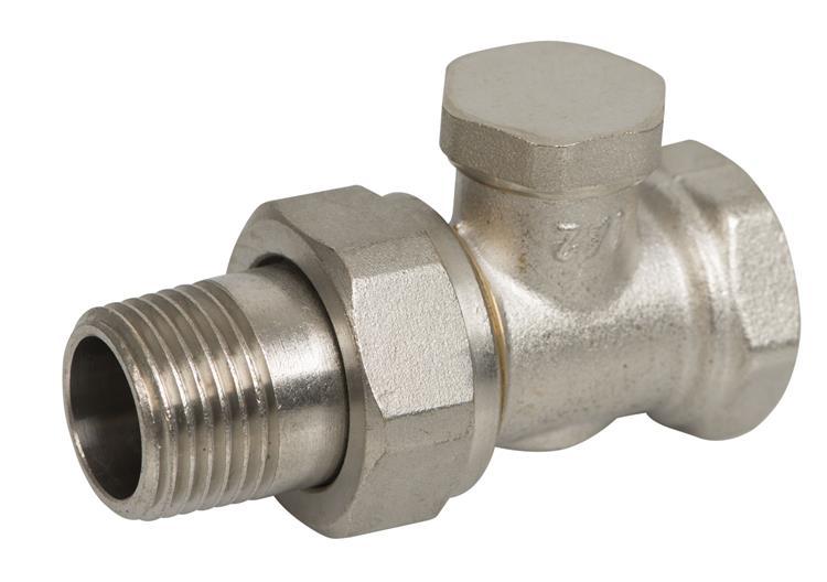 """Plieger radiator voetventiel met afsluitbare koppeling recht 1/2""""bi x1/2""""bu"""