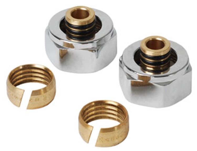 Plieger adapter onderblok v. designradiatoren 16x2mm chroom