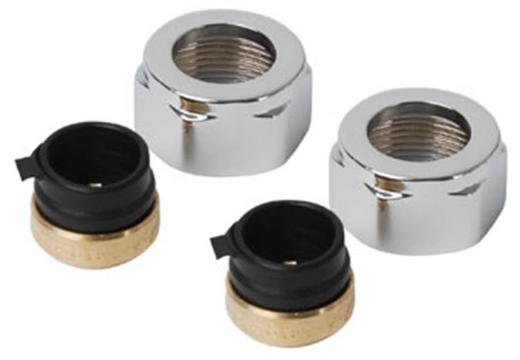 Plieger adapter onderblok v. designradiatoren 15mm chroom