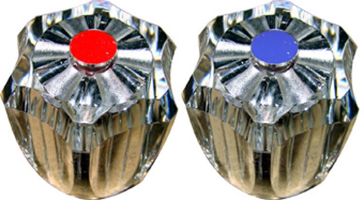 """Plieger set kraanknoppen met binnenwerk met kraanschijf 1/2"""" transparant"""