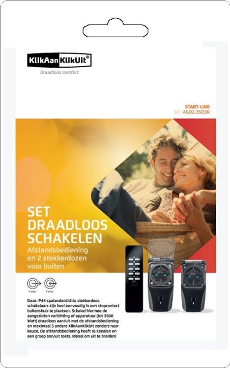 Klik aan Klik uit Draadloze Buiten Schakelaarset - Nederlandse stekker AGD2-3500R