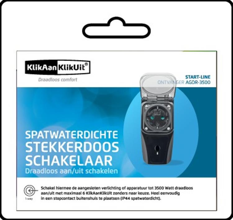 KlikAanKlikUit Stopcontact Schakelaar voor buiten (3500W)-Nederlandse stekker AGDR-3500