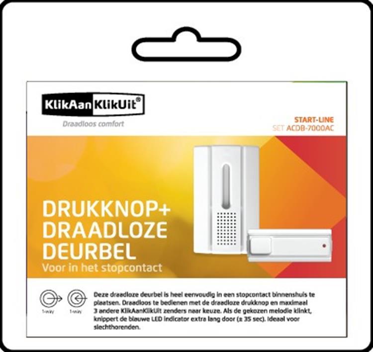 KlikAanKlikUit Draadloze Deurbel Set ACDB-7000AC