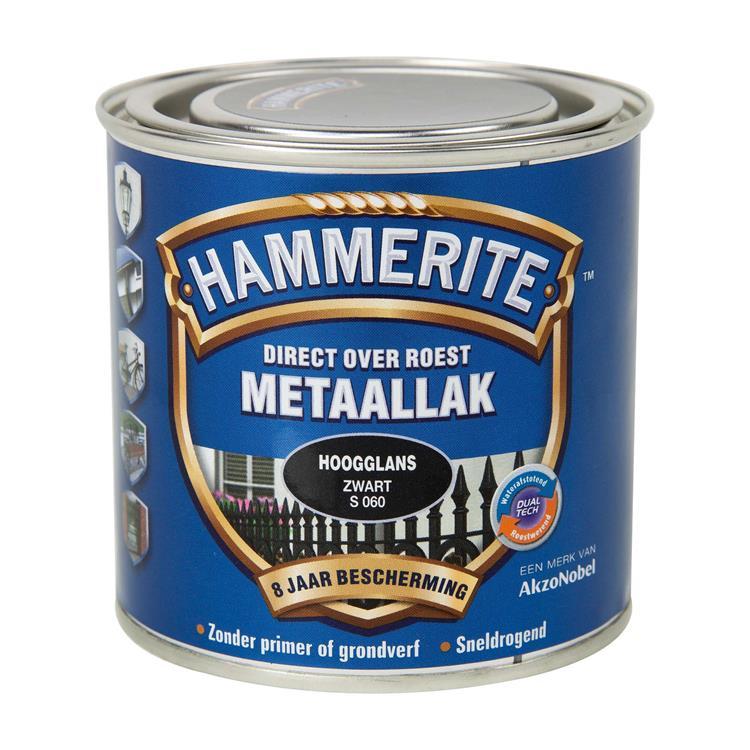 Hammerite Hoogglans Zwart S060 250 Ml