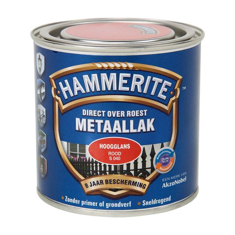 Hammerite Hoogglans Rood S040 250 Ml