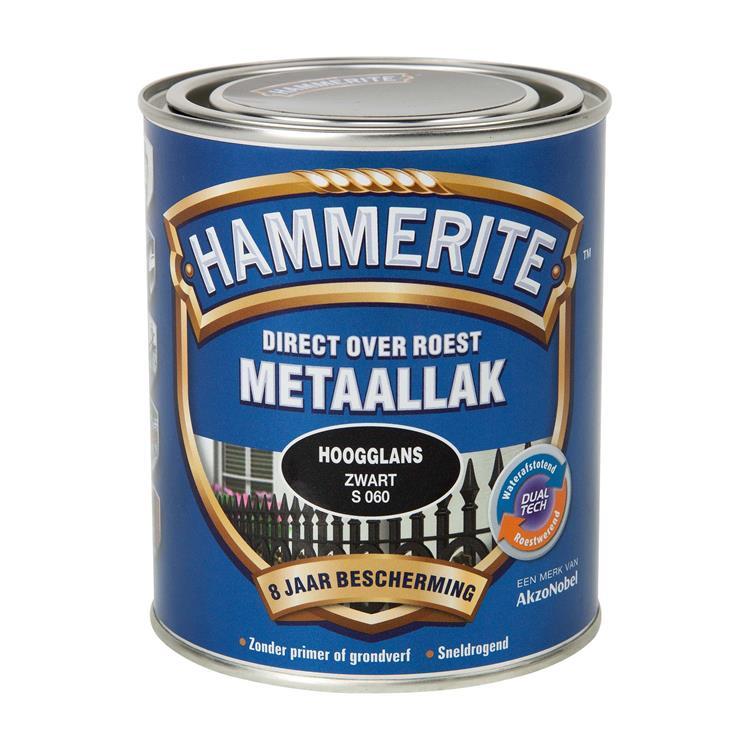 Hammerite Hoogglans Zwart S060 750 Ml