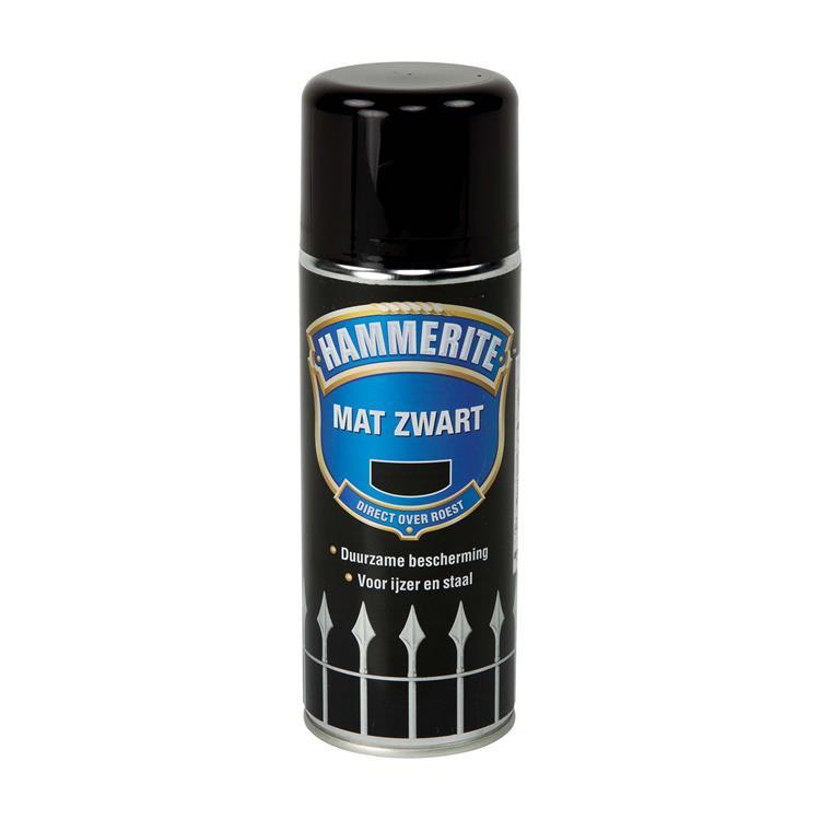 Hammerite Metaallak Mat Zwart 400 Ml