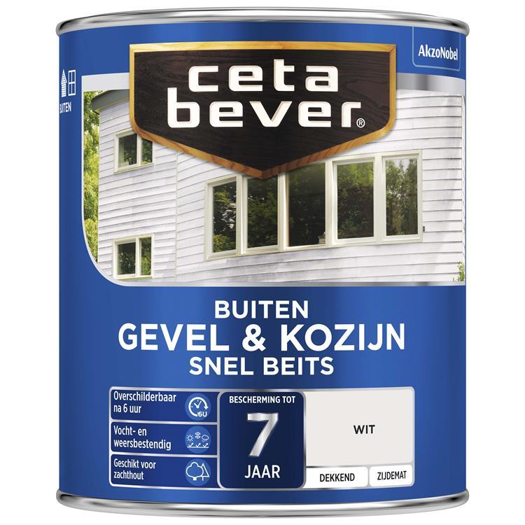 Cetabever Dekkend Snel Beits Gevel & Kozijn Wit 750 Ml