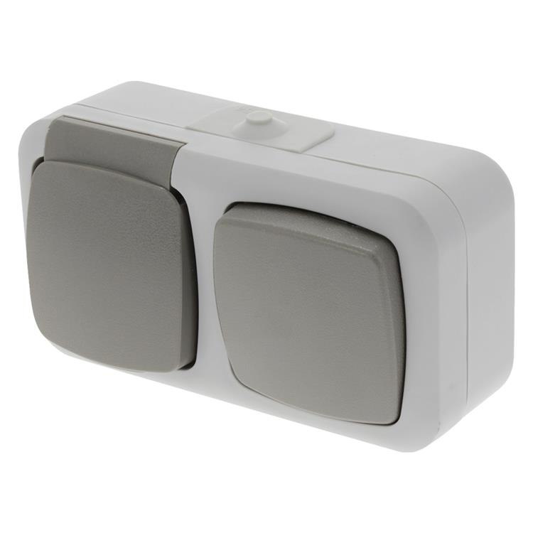 Nautic opbouw-combinatie stopcontact/wisselschakelaar randaarde grijs