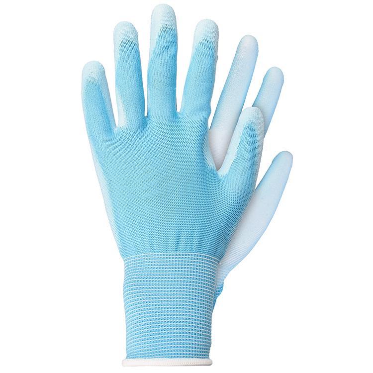 Werkhandschoenen licht polyester blauw maat S