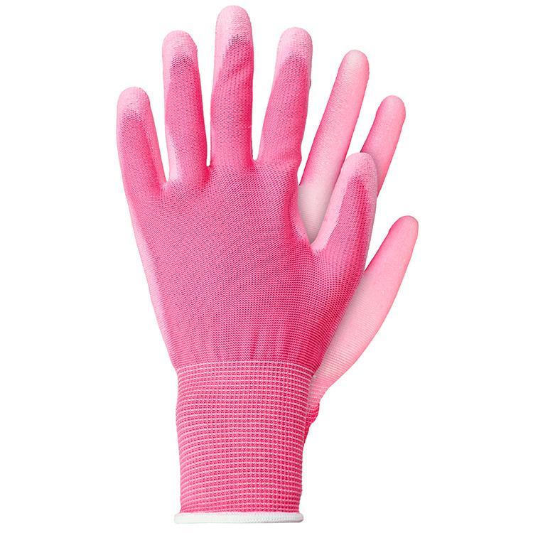 Werkhandschoenen licht polyester roze maat S