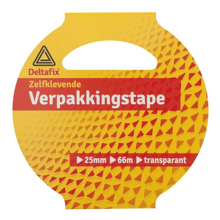 Deltafix Verpakkingstape huls 25mmx66m transparant