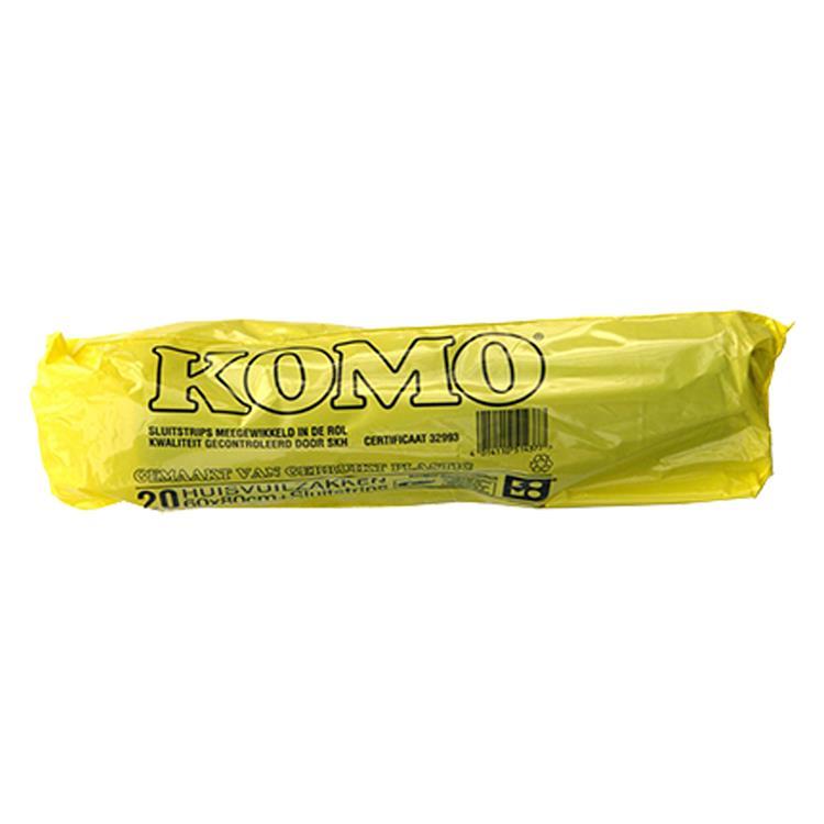 KOMO huisvuilzakken met sluitstrips 60x80cm 20 stuks