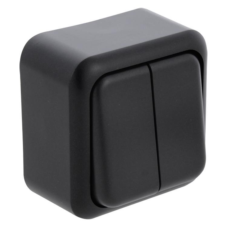 Q-LINK Opbouw serieschakelaar zwart