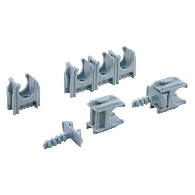 Q-link buisclip euro 16 mm grijs.Inhoud 20 stuks