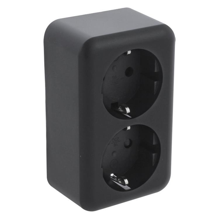 Q-LINK Opbouw wandcontactdoos 2-voudig