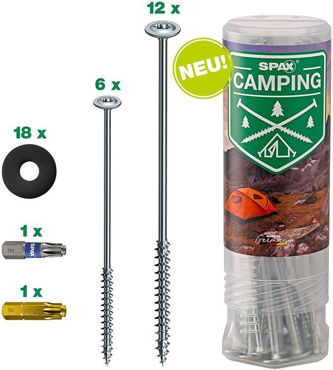 SPAX Campingset | 18 haring schroeven inclusief ringen