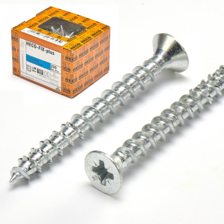 HECO-FIX-plus Spaanplaatschroef Verzinkt 4,0x70mm PK Pozidrive - Voldraad (200 stuks)