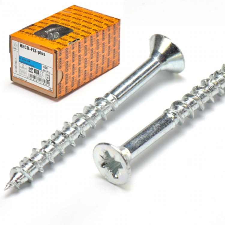 HECO-FIX-plus Spaanplaatschroef Verzinkt 6,0x180mm PK Pozidrive - Deeldraad (100 stuks)
