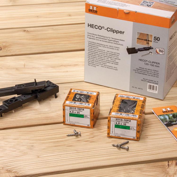HECO® Clipperset voor het onzichtbaar bevestigen van vlonderplanken