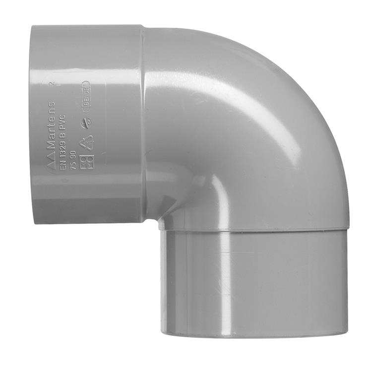Martens PVC bocht 75mm 1xlijm 87gr grijs