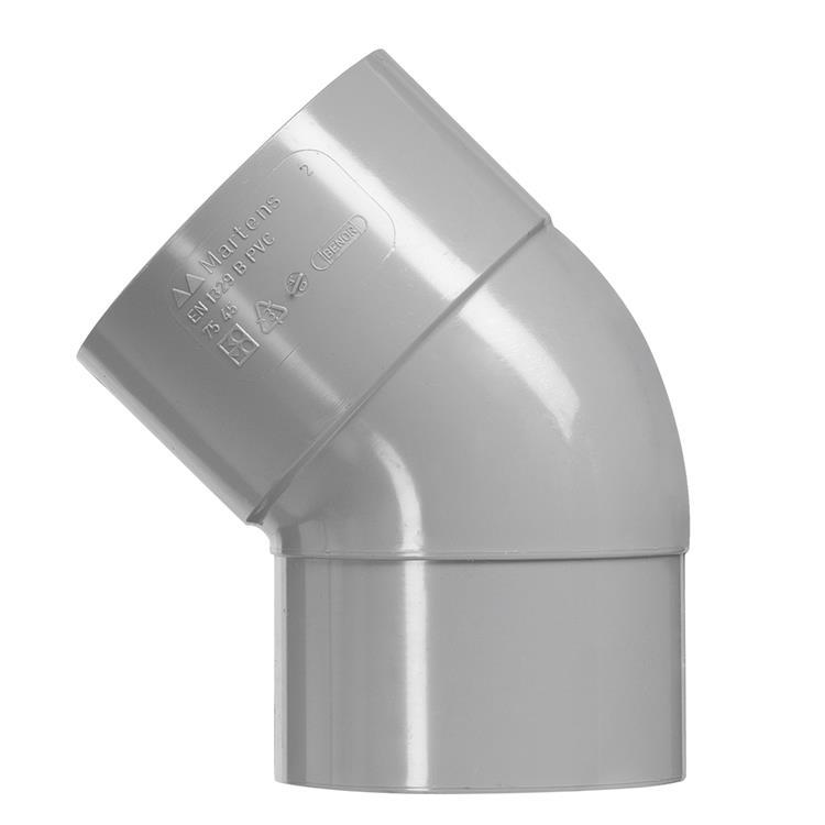 Martens Bocht, PVC, 1 x manchetmof, 45°, 125 mm