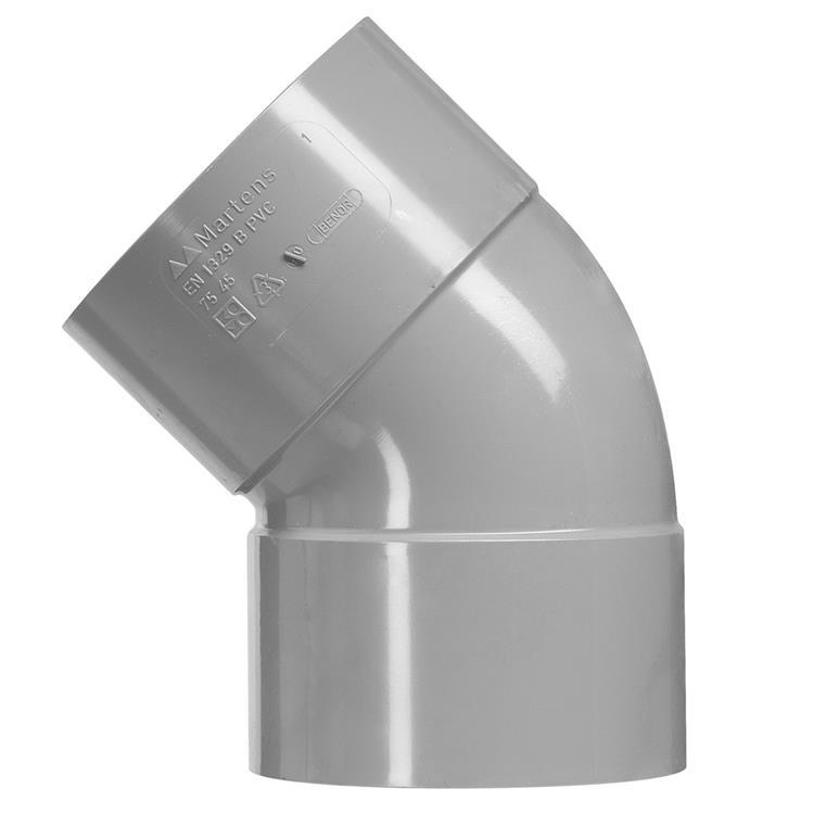 Martens PVC bocht 40mm 2xlijm 45gr grijs