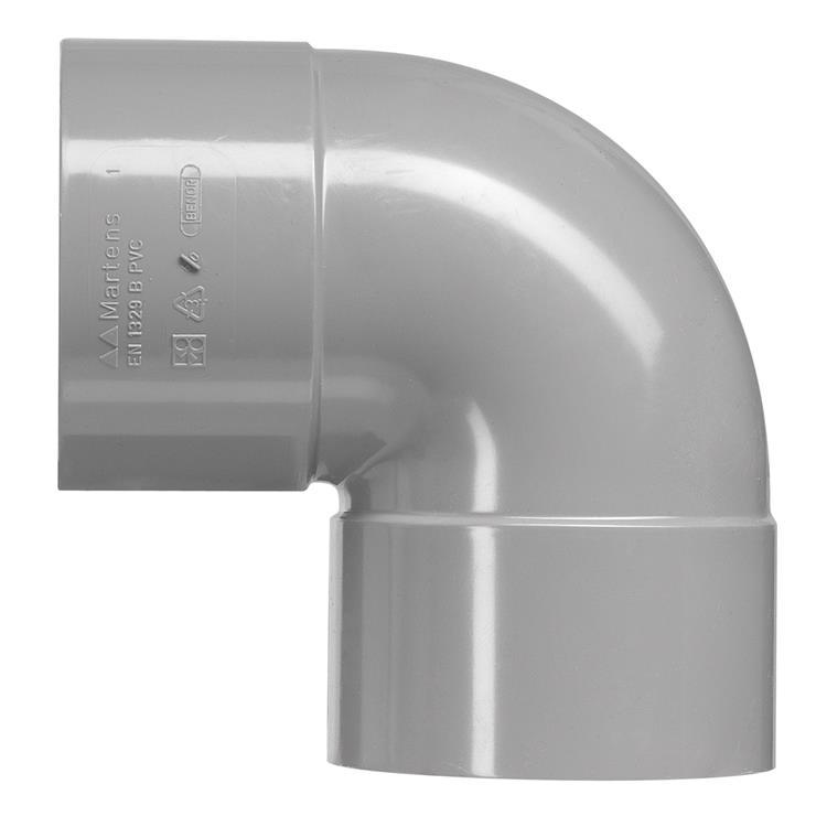 Martens PVC bocht 75mm 2xlijm 45gr grijs
