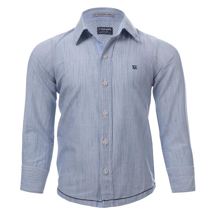 Blue Rebel SPOT ON - shirt striped - Light Blue - dudes