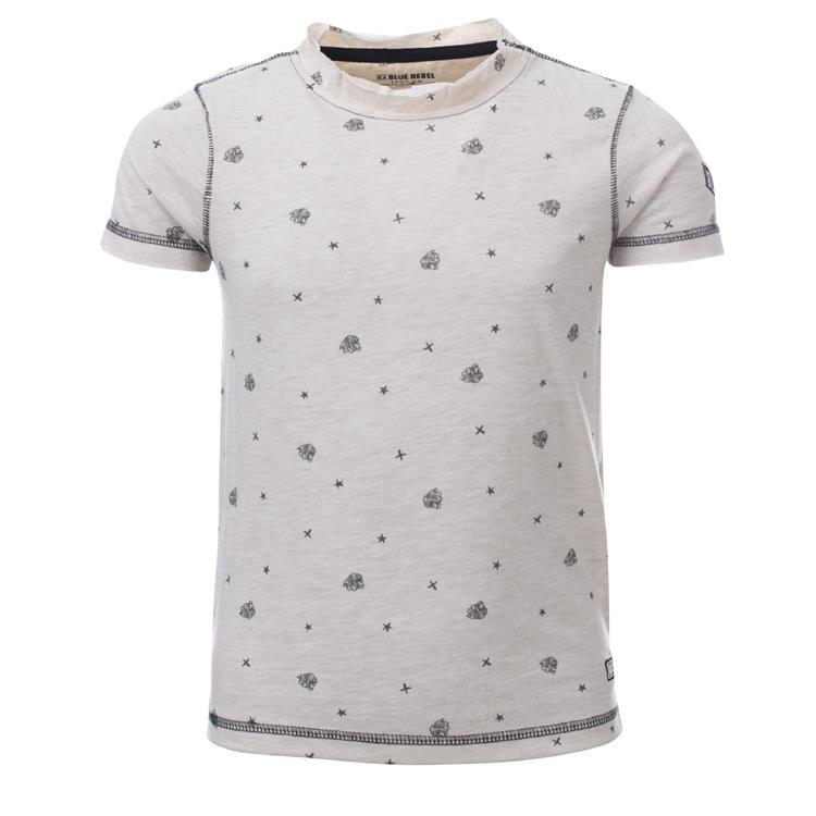 Blue Rebel SPOT ON - t-shirt ss - Ecru melee - dudes