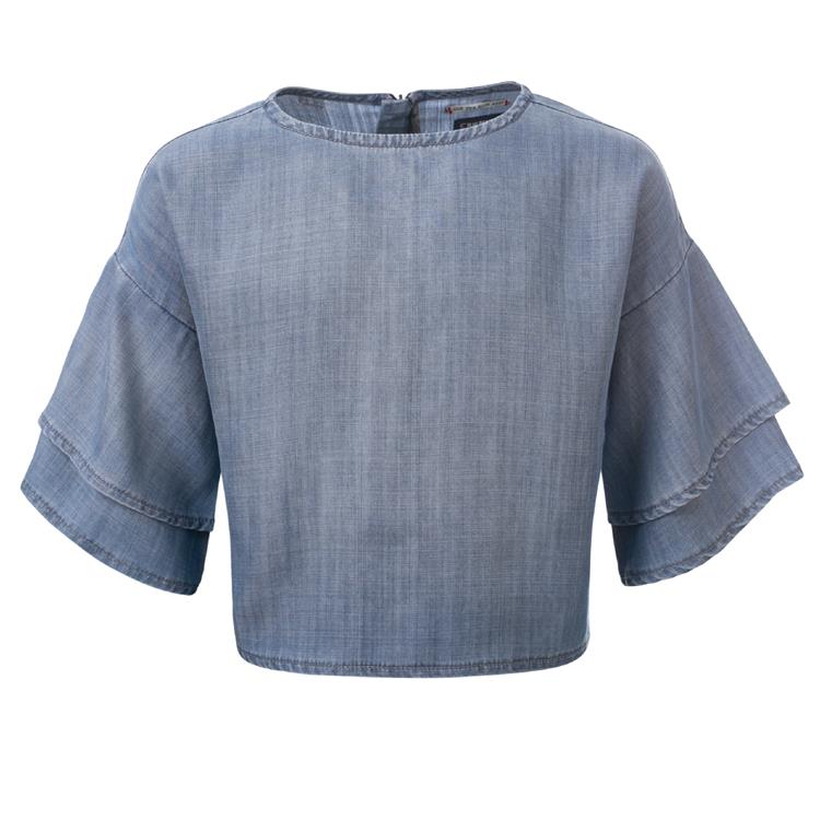Blue Rebel SPOT ON - top with ruflle sleeves - Blue - betties