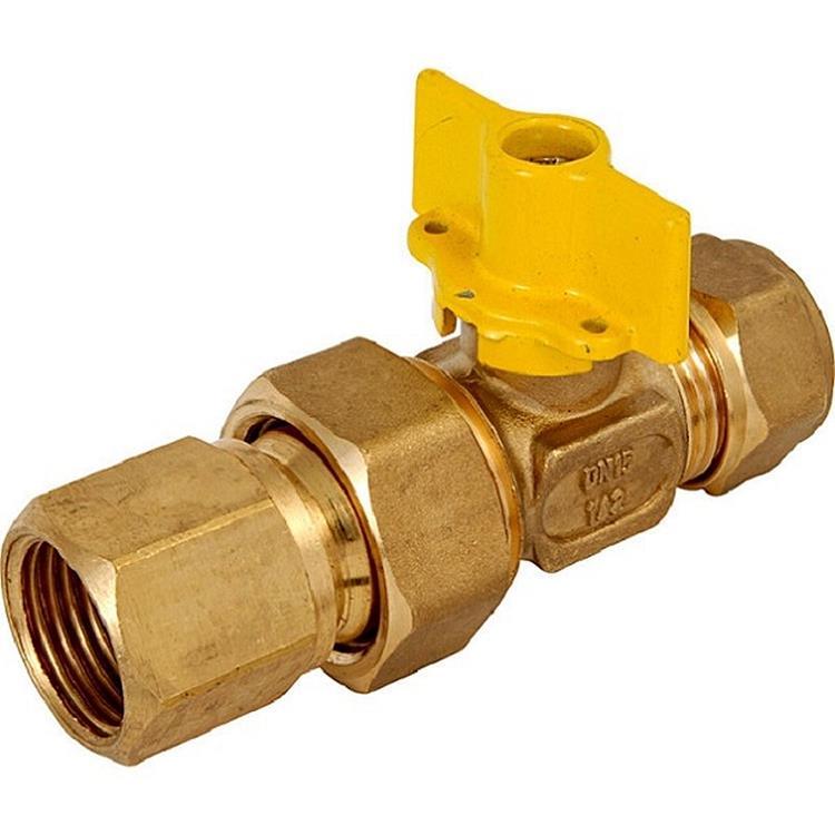 """BPE gaskogelkraan met hendel - 1/2""""x15 mm knel messing"""