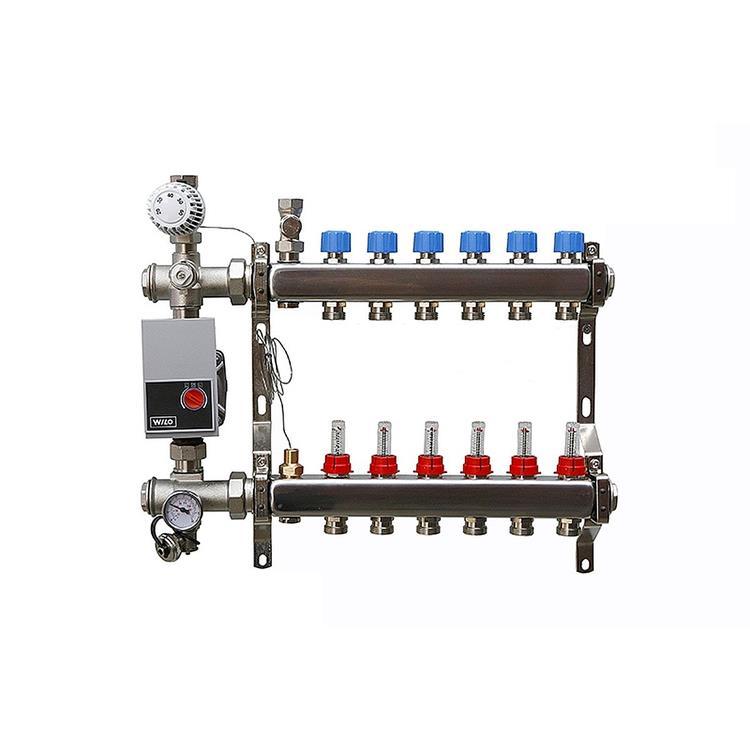 AquaHeat vloerverwarming verdeler - 8-groeps bovenaansluiting RVS met Wilo pomp