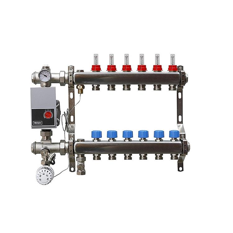 AquaHeat vloerverwarming verdeler - 6-groeps onderaansluiting RVS met Wilo pomp