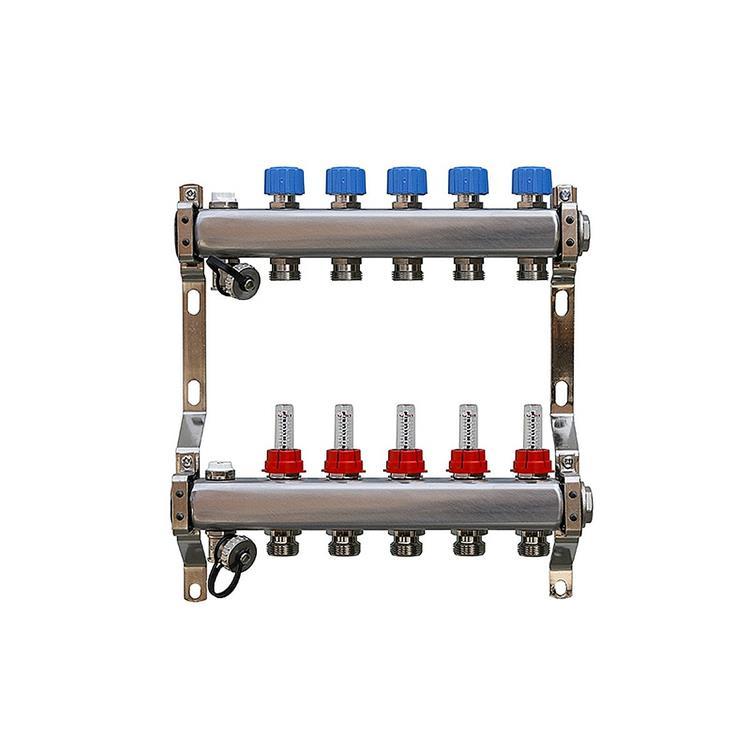 AquaHeat vloerverwarming verdeler - 6-groeps RVS zonder pomp