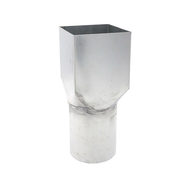 Verloopsok - rond 100 x vierkant 100 mm zink