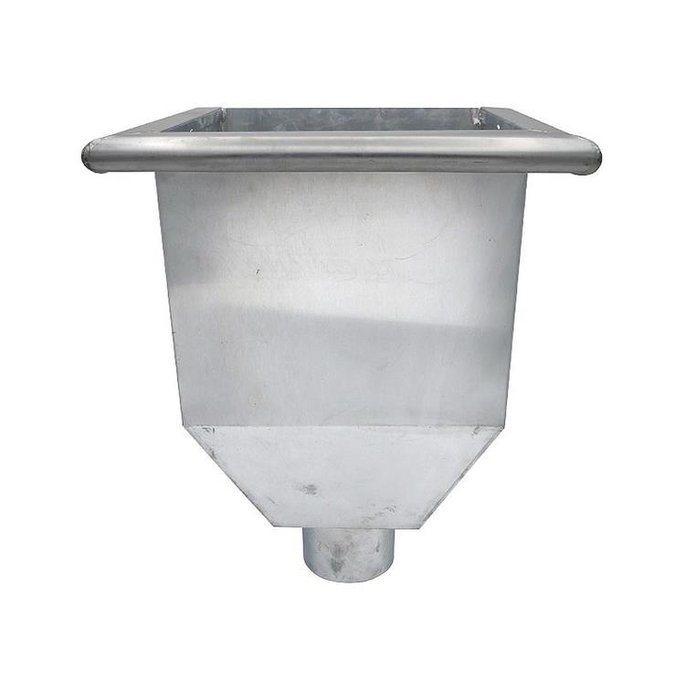 Vergaarbak kwadratisch - 100 mm zink